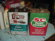 Vintage Paint Thinner 1 Gal. Can Thinzit And Sc Solvents Chem. Gas/oil Prop Decor