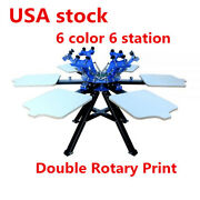6 Color 6 Screen Printing Press Station Printer Double Rotary Print Equipment