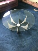 Mid Century Modern Donald Drumm Glass Brushed Aluminum Round Coffee Table 1970s