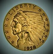 1928 Indian Head 2.50 United States 90 Us Gold Coin - ⭐613⭐v9⭐