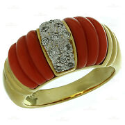 Jacques Timey Vintage Red Fluted Coral Diamond 18k Yellow Gold Ring