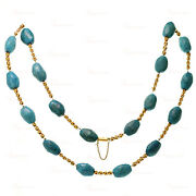 Vintage 18k Yellow Gold Pressed Turqouise Long Necklace
