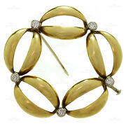 Vintage Classic Diamond 18k Yellow And White Gold Brooch