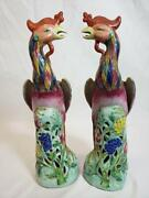 Late 19th C. Or Early 20th C. A Pair Chinese Porcelain Phoenix Birds With Sign