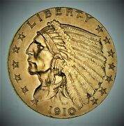 1910 Indian Head 2.50 United States 90 Us Gold Coin - 620 V9