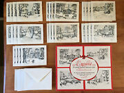 Vintage Lot Of 28 Christmas Cards Paramount Engraved Winter Scenes 2 Sets W Box