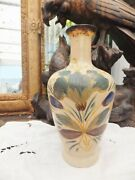 Antique Bohemian Or Venetian Murano Milk Glass Lily Painted Bottle Gold Lines