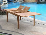 A-grade Teak Wood Caranas 122 Rectangle Double Extension Dining Table Outdoor