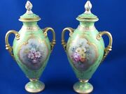 Pair Of Stunning Antique Royal Crown Derby Vases Decorated And Gilded Vases-8