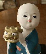 1988 Gumps Japan Japanese Hakata Doll Style Boy With Dragon Mask Figurine Statue