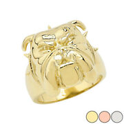 Solid Gold Angry Bulldog Face Ring In 14k Yellow/rose/white