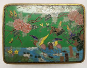 Antique Chinese Japanese Gilt Bronze Cloisonne Enameled Box Cranes As Is