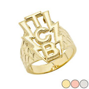 Solid Gold Taking Care Of Business Tcb Menand039s Ring 14k Yellow/rose/white