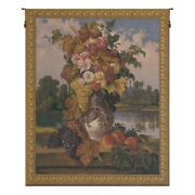 Reflections Flowers Bouquet Still Life Lake Scene Woven Tapestry Wall Hanging