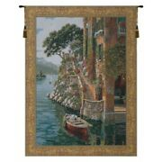 Lake Como Villa Italy Stairs Boat Scene European Woven Tapestry Wall Hanging