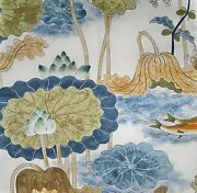 Cowtan And Tout Nympheus Lily Pond Birds Toile Fabric 10 Yards Blue Green Multi