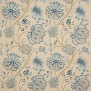 Colefax And Fowler Jacobean Baptista Embroidered Linen Fabric 10 Yards Blues