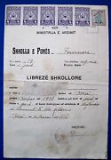 Vintage School Booklet 1939 - 1940 Albania With 6 Monopol Tax Stamp And Red Cross
