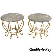 Pair Italian Hollywood Regency Gold Gilt Iron Rope Round Marble Top Low Tables