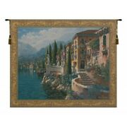Morning Reflections Lake Como Italy Scene European Woven Tapestry Wall Hanging