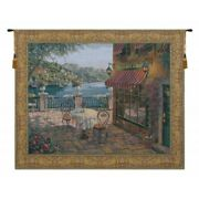 Trattoria At Lake Como Seaside Cafe Italy European Woven Tapestry Wall Hanging
