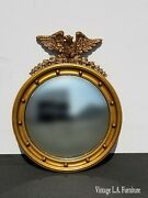 Vintage French Country Federal Eagle Convex Gold Wall Mantle Mirror 13 Colonies