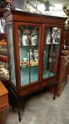 Beautiful Antique Mahogany Display Case - Inlay And Old Glass - Early 1900's