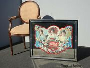 Vintage French Country Coca Cola Wall Mantle Mirror Coke Picture W 3 Women