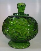 Andnbspgreen Glass Candy Dish Bowl Trinket Christmas Vanity Dresser Table L.e. Smith