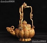 Old Dynasty Bronze 24k Gold Sheep Goat Head Wall Hanging Teapot Wine Pot Flagon