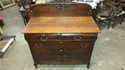 Antique Oak Side Board Dining Server - 1800and039s Made Carved - Beautiful