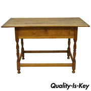 19th C. American Primitive Rustic Maple And Pine Wood Farm Tavern Work Barn Table