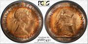 1967 Great Britain One 1 Penny Pcgs Ms64rb Target Toned None Graded Higher