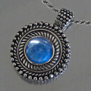 Powder Or Perfume Container Pendant With Mini Spoon Kyanite And Sterling Silver