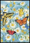 Butterflies And Daisies - Diy Chart Counted Cross Stitch Patterns Needlework