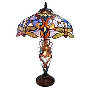 Table Lamp Style 3 Lights Amber Dragonfly Jewel Stained Glass Lit Base
