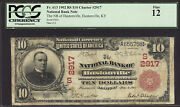 10 1902 Red Seal National Bank Of Hustonville Kentucky Ch 2917 Pcgs 12 Unique