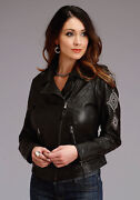 Stetson Womens Black Leather Motorcycle Jacket
