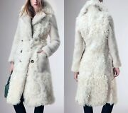 Prorsum Ivory Cream Double Breasted Shearling Fur And Leather Coat It 42