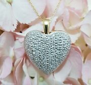 Large 1ct Diamond Heart Pendant Necklace In 18ct Yellow And White Gold