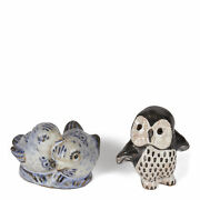 Danish L Hjorth Glazed Owl And Bird Pottery Figures 1930/50and039s