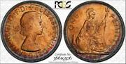 1967 Great Britain One Penny Bu Pcgs Ms64rd Circle Toned Coin In High Grade