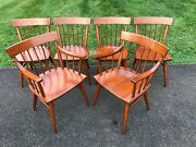 Vintage Set Of 6 Dining Chairs Mid Century Modern After Mccobb