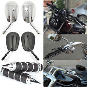 1 Motorcycle Handlebar Hand Grips And Oral Rearview Side Mirrors Sets For Harley