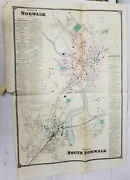 Antique Map Of Norwalk Connecticut Fairfield County City Plan 19th Century