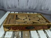 Vtg Vintage Wooden Puzzle Pieces Blocks Empire Express American Toy Box Ads