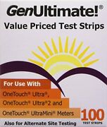 100 Genultimate Blood Glucose Test Strips Use One Touch Ultra 2 Mini Meters