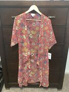 Lularoe Shirley Small Floral Roses Cream Green Pink Peach Purple Flowers New Nwt
