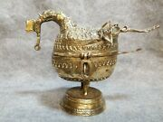 Solid Brass Burmese Offering Box, 8 3/4 Inches Tall, 12 Inches Long.