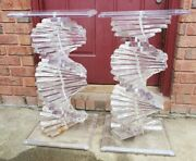 Mid Century Modern Helix Spiral Lucite Tables Collectible